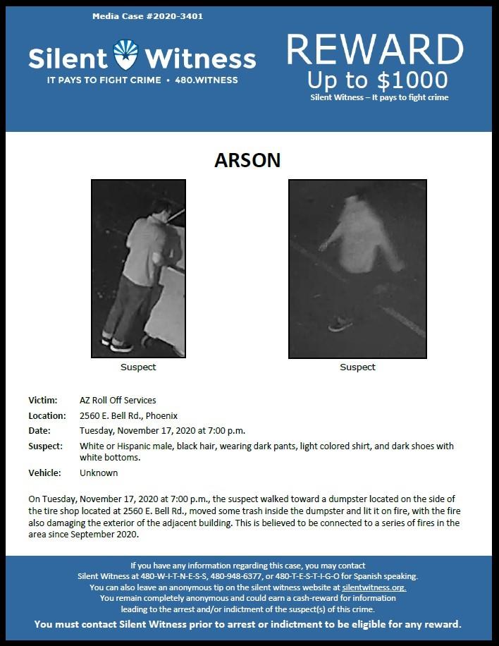 Arson / AZ Roll Off Services / 2560 E. Bell Rd.