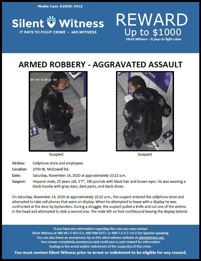 Armed Robbery / Aggravated Assault / Cellphone store / 3700 W. McDowell Rd.