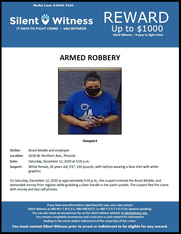 Armed Robbery / Boost Mobile / 4228 W. Northern Ave.