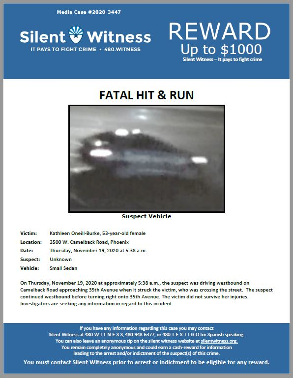 Fatal Hit and Run / Kathleen Oneill-Burke / 35th Avenue and Camelback Road