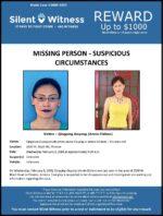 Missing Person – Suspicious Circumstances / Qingping Ouyang (Annie Chilian) / 2500 W. Bloch Rd., Phoenix
