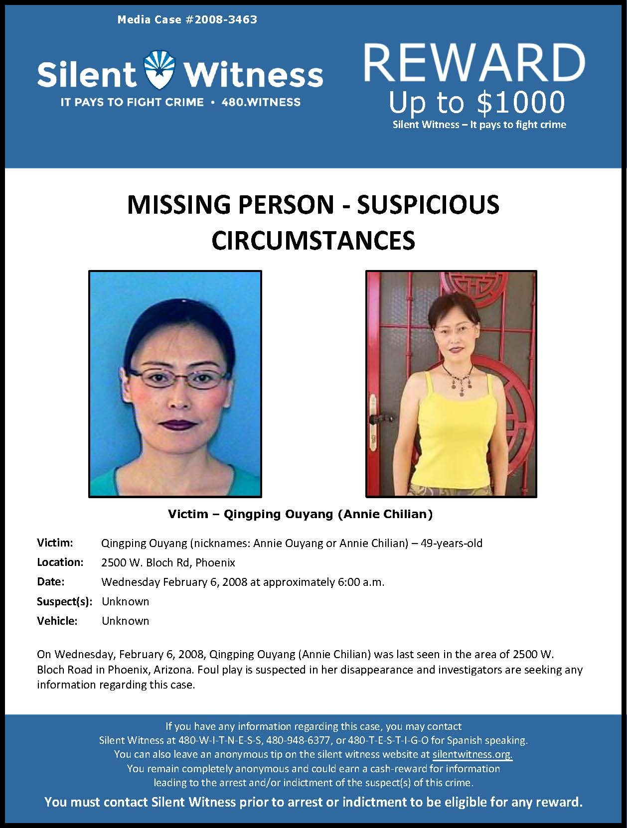 Missing Person – Suspicious Circumstances / Qingping Ouyang (Annie Chilian) / 2500 W. Bloch Rd., Phoenix