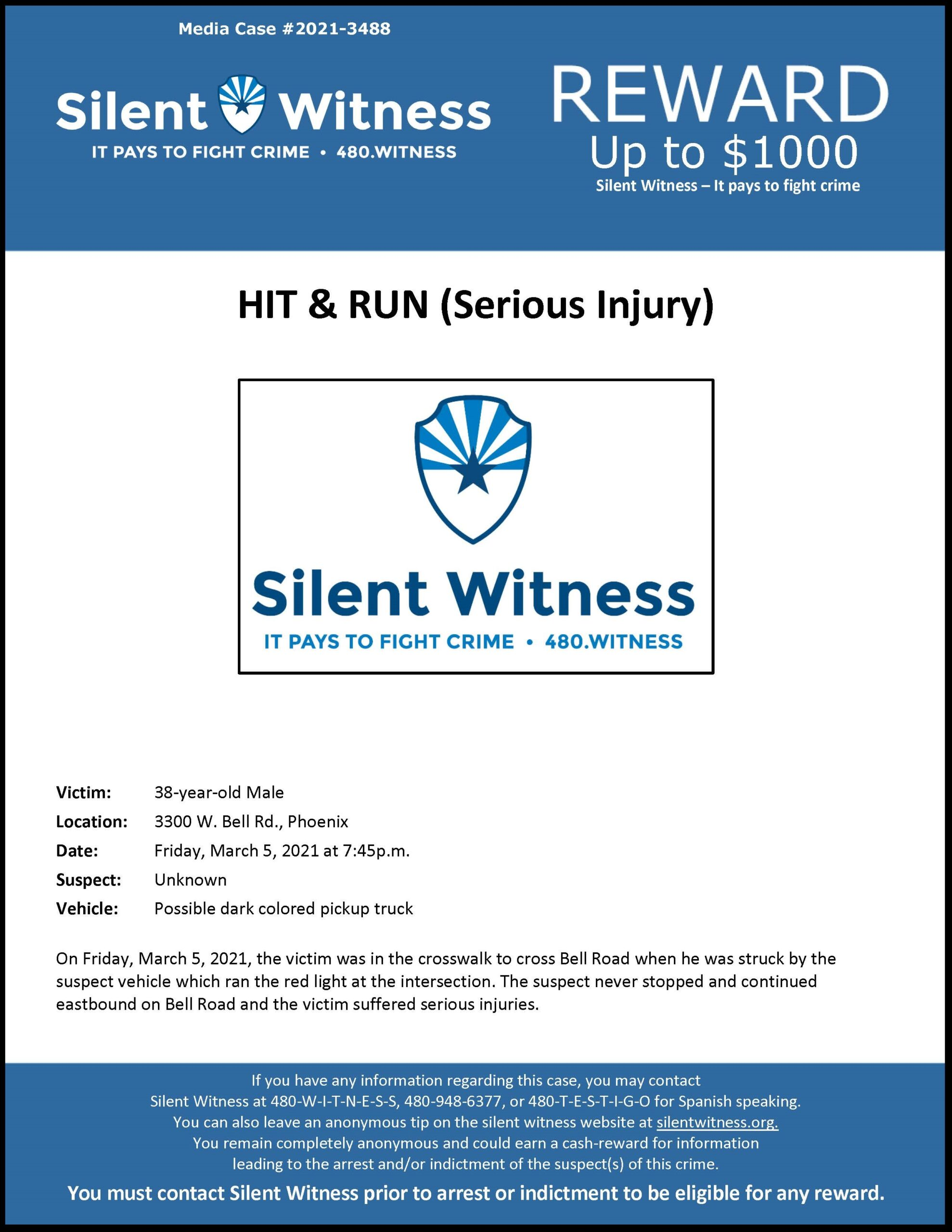 Hit & Run (Serious Injury) /38-year-old Male / 3300 W. Bell Rd., Phoenix