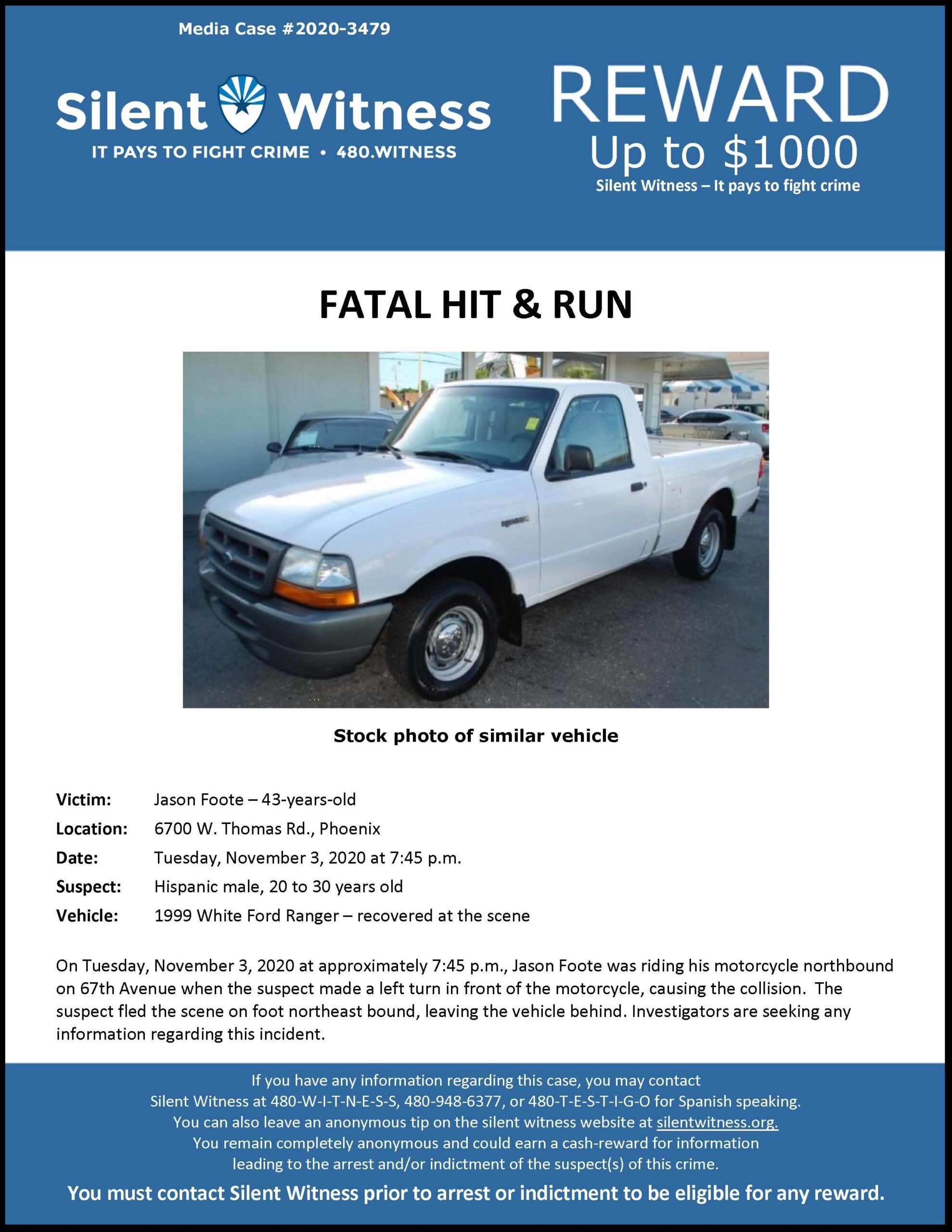 Fatal Hit & Run / Jason Foote / 6700 W. Thomas Rd., Phoenix