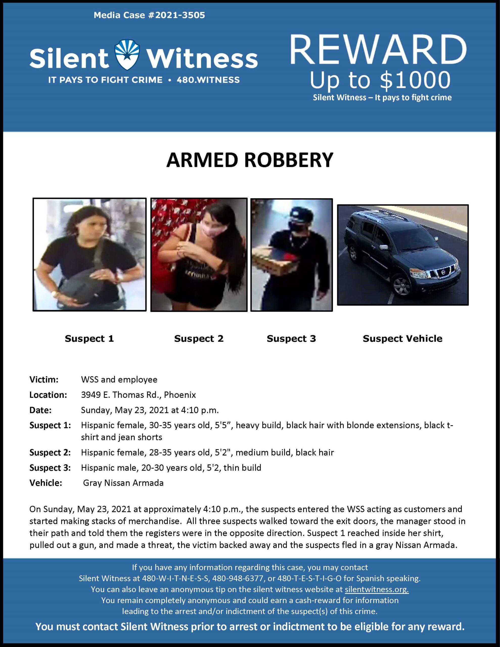 Armed Robbery / WSS Shoe Store / 3949 E. Thomas Rd., Phoenix