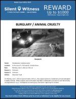 Burglary / Animal Cruelty / In the area of S. 45th and W. Estrella Drives, Phoenix