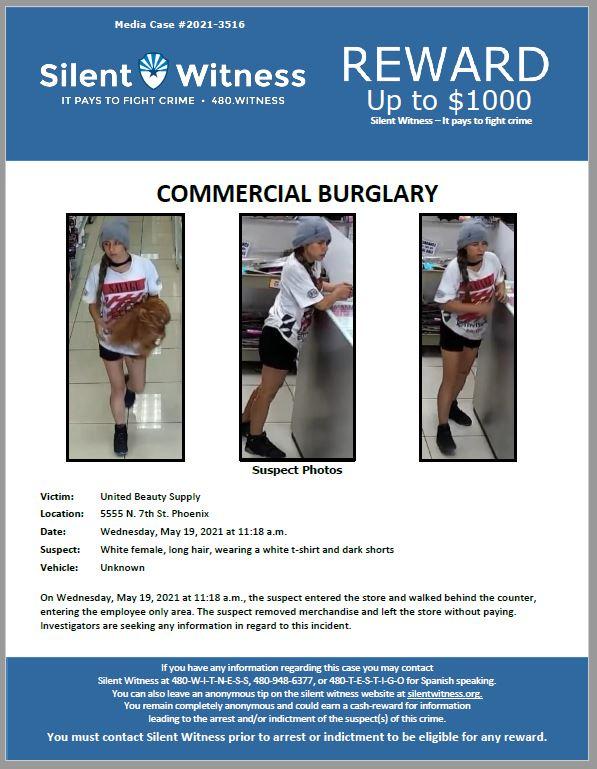 Commercial Burglary / United Beauty Supply / 5555 N. 7th St. Phoenix