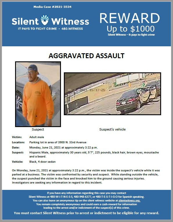 Aggravated Assault / Adult Male / Parking lot in area of 3900 N. 33rd Avenue