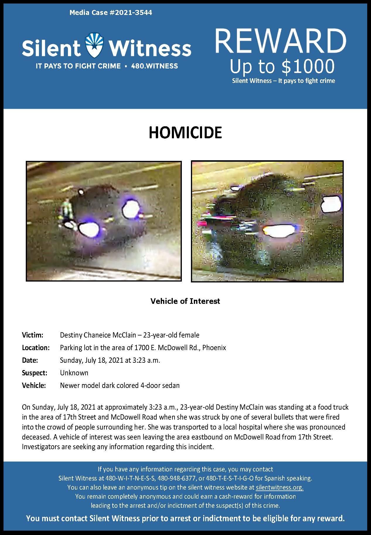 Homicide / Destiny McClain / Area of 1700 E. McDowell Rd., Phoenix