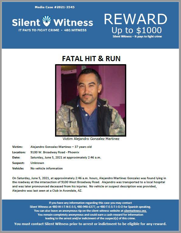Fatal Hit and Run / Alejandro Gonzalez Martinez / 9100 W. Broadway Road – Phoenix