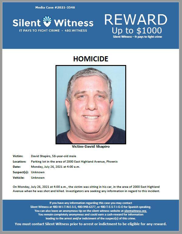 Homicide / David Shapiro / Parking lot in the area of 2000 East Highland Avenue, Phoenix