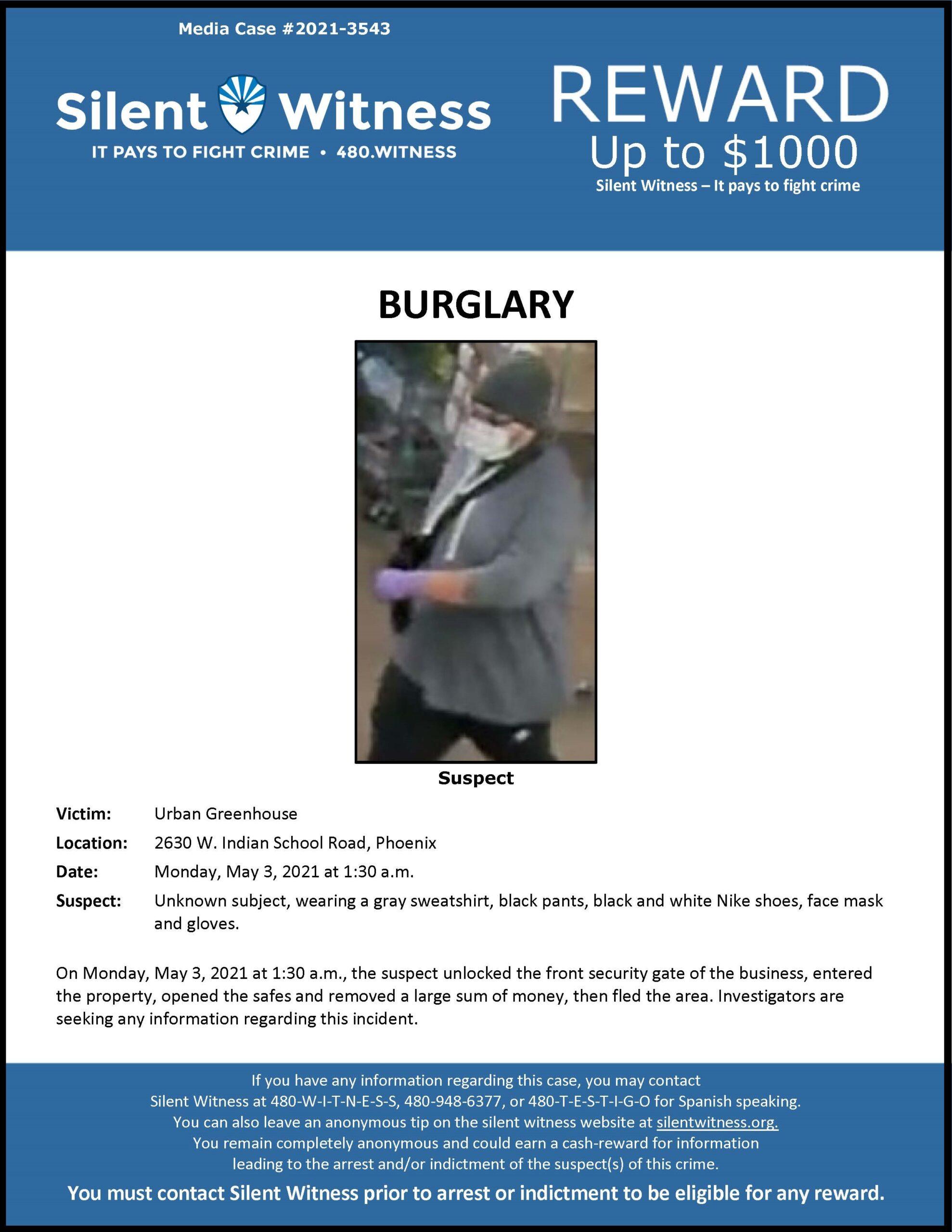 Burglary / Urban Greenhouse / 2630 W. Indian School Rd., Phoenix
