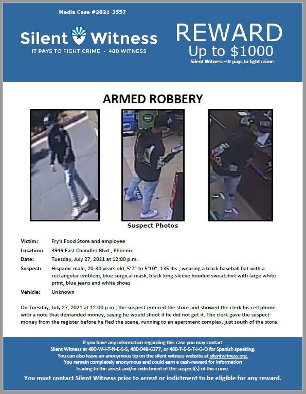 Armed Robbery / Frys Food Store / 3949 East Chandler Blvd., Phoenix