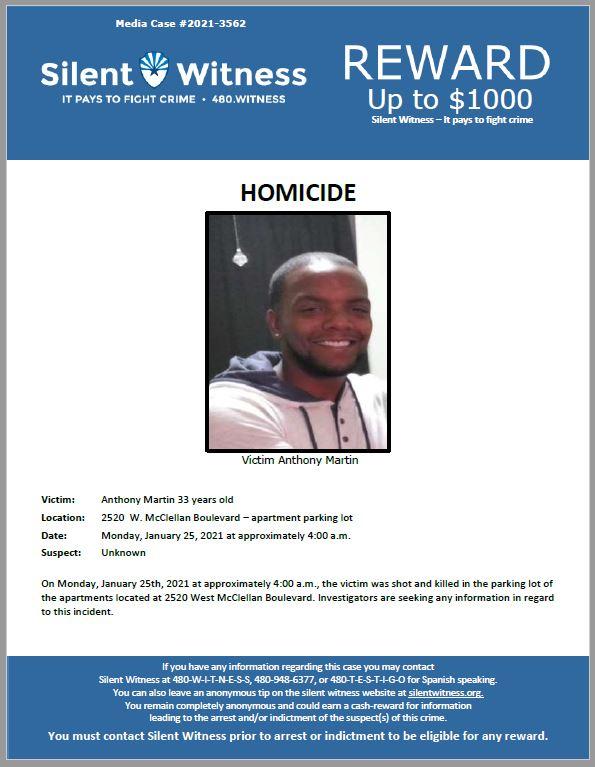 Homicide / Anthony Martin / 2520  W. McClellan Boulevard