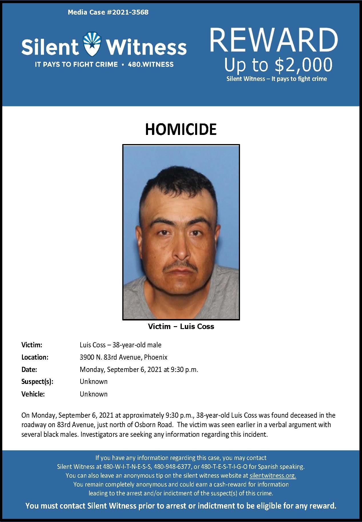 Homicide / Luis Coss / 3900 N. 83rd Ave., Phoenix