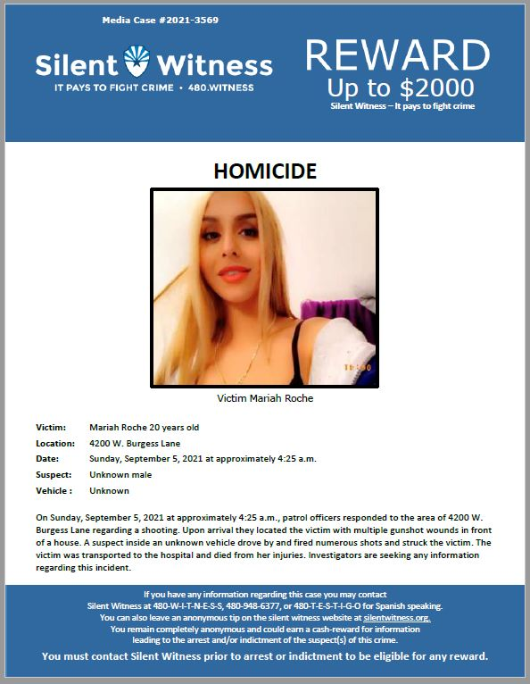 Homicide / Mariah Roche / In the area of 4200 W. Burgess Lane